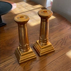 Pair of Candleholders in Burnished Gold Color